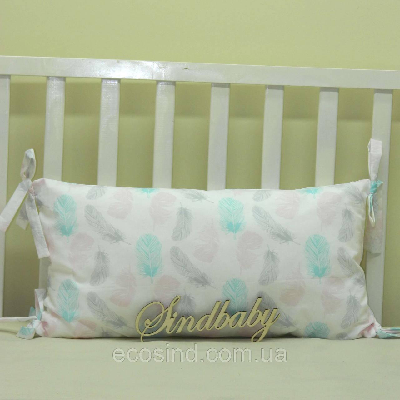Бортики подушки в кроватку, Подушка сатин 30х60 -14