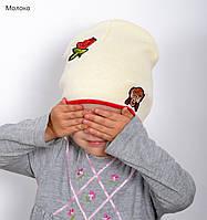 Детская вязанная шапка на весну Молочный, фото 1