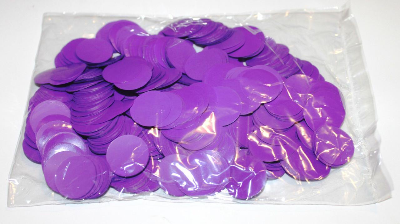 Конфетти кружочки 23мм. фиолетовые Вес:50гр.