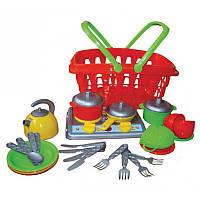 """Кухня """"Галинка 10"""" 1172, детская игровая кухня, игра для девочек, плитка, корзинка, посудка"""