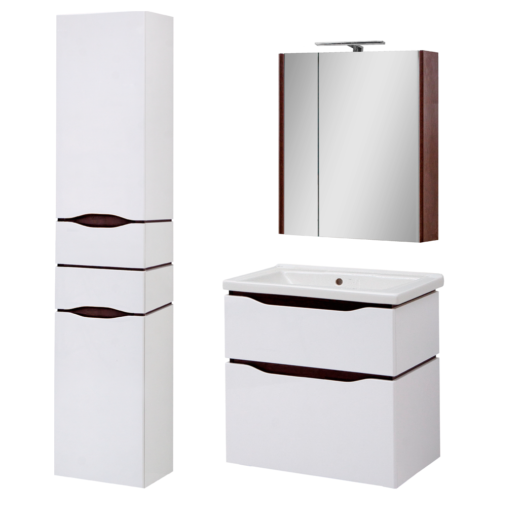 Комплект мебели для ванной комнаты Сенатор 60 подвесной с зеркальным шкафом Юввис
