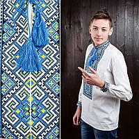 Мужская сорочка с синей вышивкой Назар