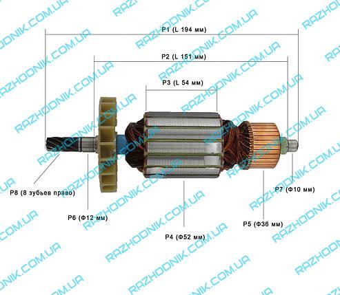 Якорь на дисковую пилу ВИТЯЗЬ ПД-2200/Forte CS 200 TS, фото 2