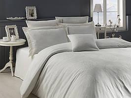 Жаккардовое постельное белье Nazenin сатин (евро-размер) № LavidaKremNJ-111