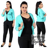 Костюм тройка  больших размеров 48+  пиджак+майка+брюки / 4 цвета арт 4087-92