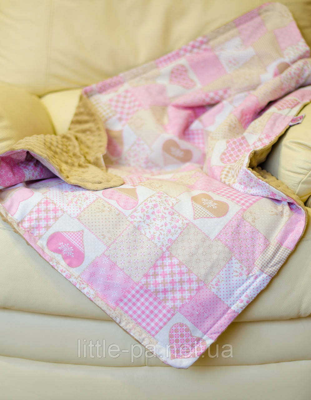 """Плед теплый  с плюшем хлопковый для ребенка """"Пэчворк розовый"""""""