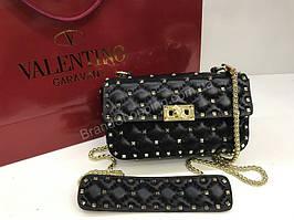 Новинка!Сумочка  Valentino из натуральной кожи Lux качество черная 1767