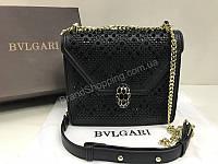 Стильная кожаная сумочка Bvlgari Lux из натуральной кожи черная  в полном комплекте 1765, фото 1