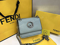 Новинка!Оригинальная сумочка Fendi Lux mini в нежно голубом цвете, фото 1