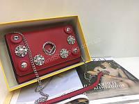 Новинка!Сумкочка Fendi Lux копия из натуральной кожи в полном комплекте цвет красный 1777, фото 1