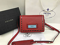 Новинка! Кожаная сумка Prada Lux из натуральной кожи в красном цвете 1792, фото 1
