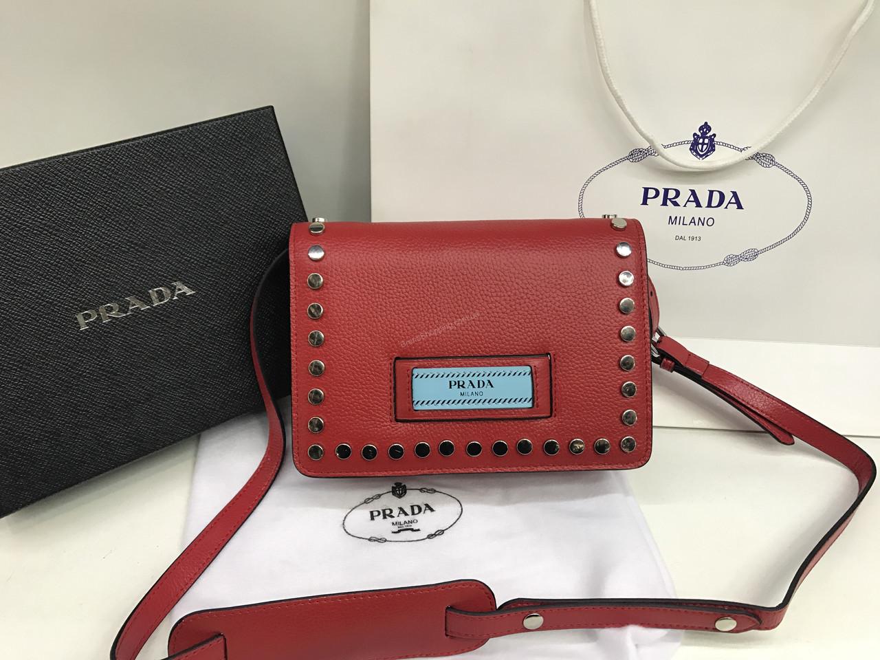 98649bbbe165 Новинка! Кожаная сумка (сумочка ) Prada Lux из натуральной кожи в красном  цвете 1792