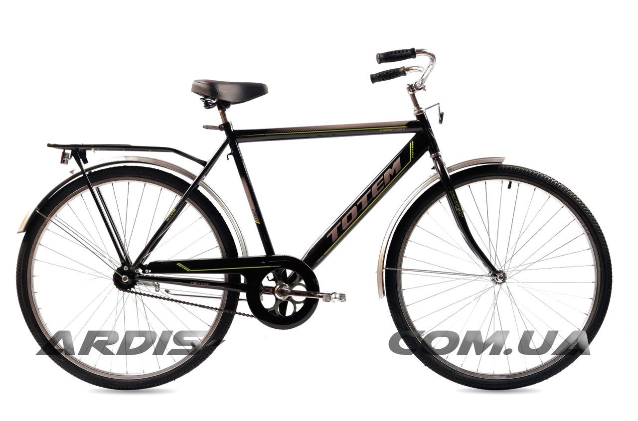 """Городской велосипед Crossride """"COMFORT MAN"""" 28"""" с багажником и подножкой, Черный"""