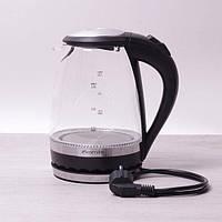 Электрический чайник с синей LED подсветкой и стальными декоративными вставками на 1,5 л Kamille a1701B