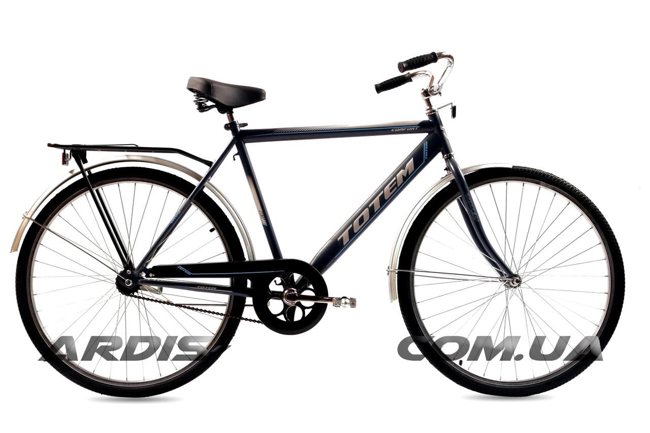 """Городской велосипед Crossride """"COMFORT MAN"""" 28"""" с багажником и подножкой, Серый"""