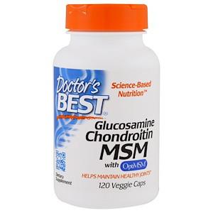 Doctor's Best, Глюкозамин + хондротин + MSM с OptiMSM, 120 капсул в растительной оболочке