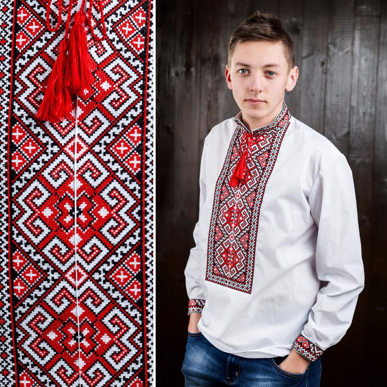 Красная мужская вышиванка - Вишиванки оптом и в розницу - «ОптИнвест» в Хмельницком