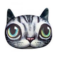 Мягкая игрушка-антистресс Кот глазастый, серый полосатый