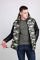 Двухцветная, камуфляжная, стёганая мужская куртка