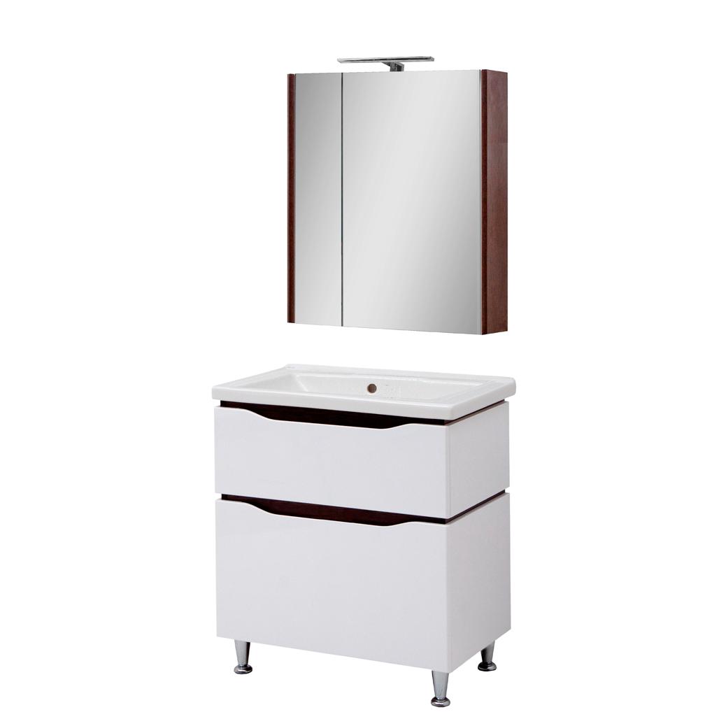 Мини-комплект мебели для ванной комнаты Сенатор 70  напольный с зеркальным шкафом Юввис