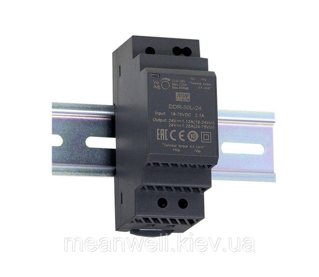 DDR-30G-24 Блок питания Mean Well DC DC преобразователь на Din-рейку вход 9 ~ 36VDC, выход 24в, 1,25A