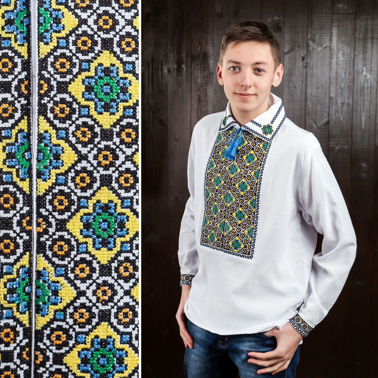 Мужская сорочка вышиванка на домотканом полотне - Вишиванки оптом и в розницу - «ОптИнвест» в Хмельницком