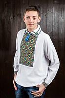 Мужская сорочка вышиванка на домотканом полотне 42