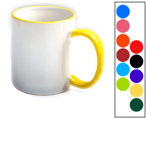 Чашка белая с цветной ручкой с фото