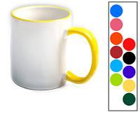 Чашка белая подарочная с цветной ручкой с фото