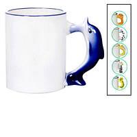 Чашка белая (декоративная ручка) с фото 330мл