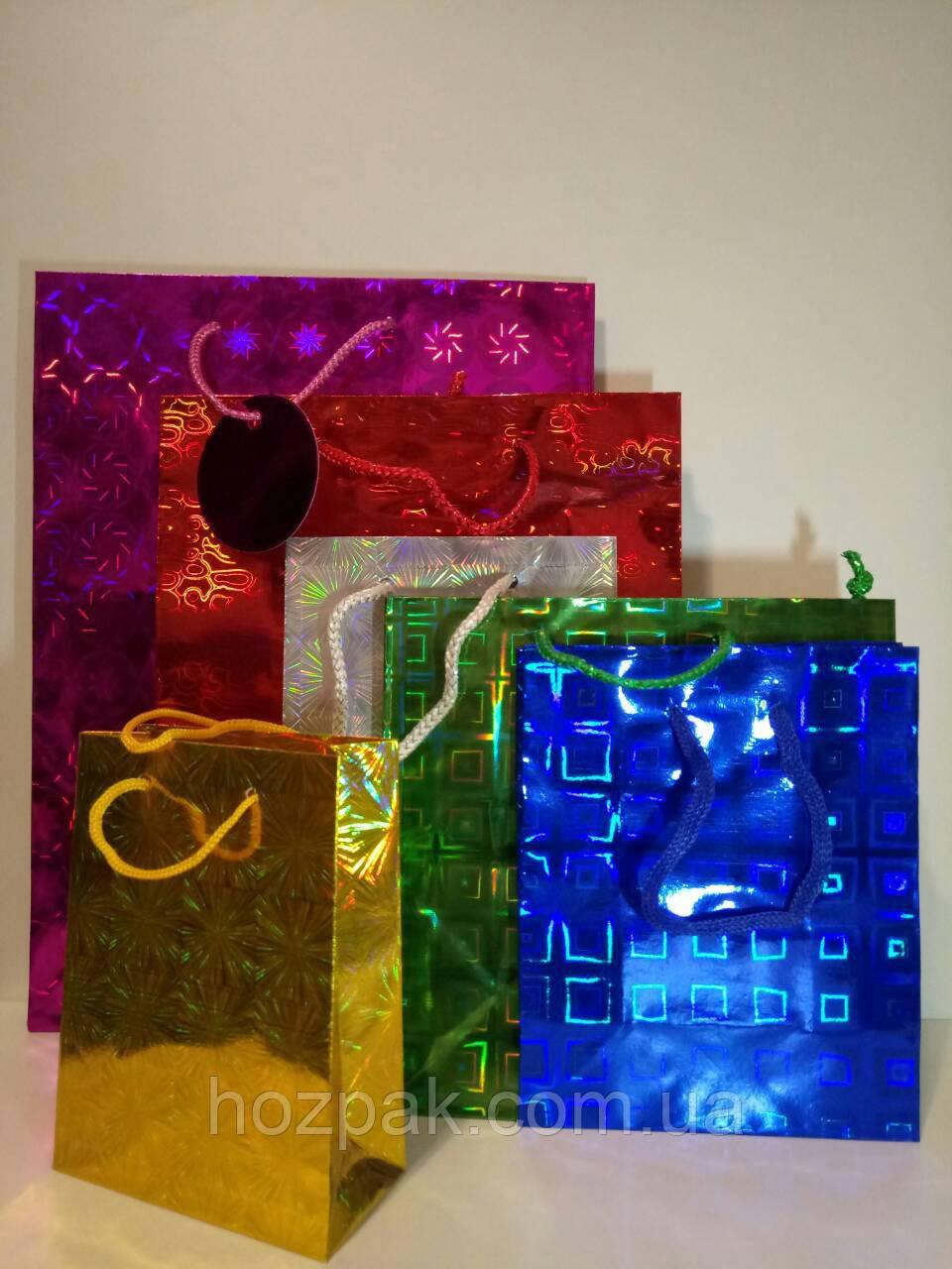 Пакет голографічний подарунковий міні 9х12 ( 12 штук в упаковці )