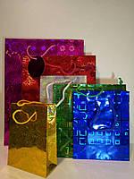 Пакет голографический подарочный квадрат 21х27х10  ( 12 штук в упаковке )
