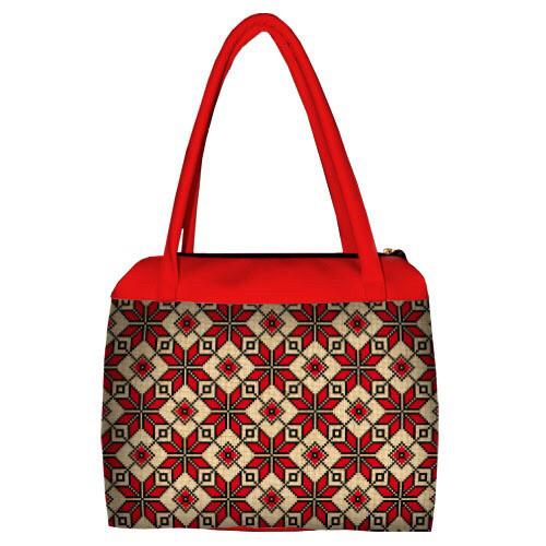 Женская большая сумка Сатчел с принтом Орнамент красный