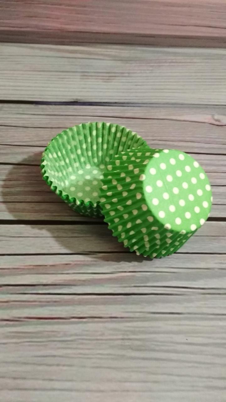 Бумажные формы для кексов Зеленый горох, 50шт