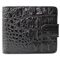 Эксклюзивное мужское портмоне из настоящей кожи крокодила в черном цвете (1007. ALM 97 Black)