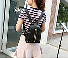Рюкзак женский кожзам мини с фурнитурой Крестики, фото 6