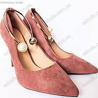 Женскиe замшевые туфли лодочки с металлическим браслетом , фото 1