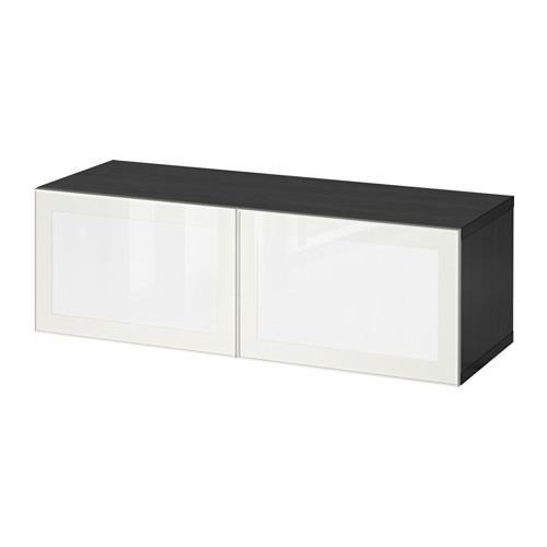 Шкаф со светодиодной дверью IKEA BESTÅ / SURTE 120x40x38 см черно-коричневый белый 391.931.49