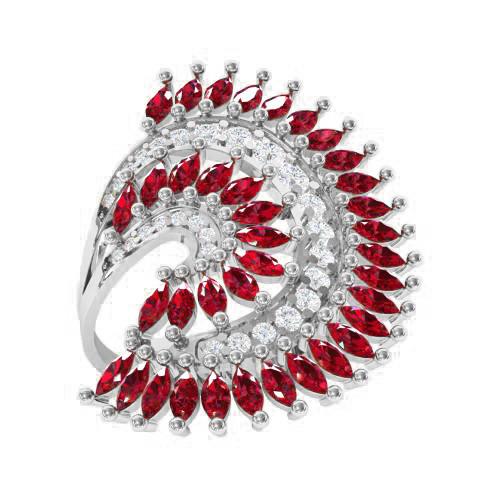 Кольцо  женское серебряное Хвост Павлина ВКЭ1595