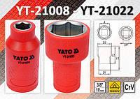 """Головка изолированная VDE/1000V 3/8""""  8-22 мм, YATO"""