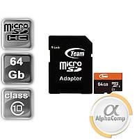 Карта памяти microSD 64GB Team Class10  10 UHS-I (TUSDX64GUHS03) + SD адаптер