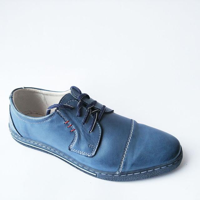 Качественная польская обувь мужская кожаная на шнуровке синего цвета