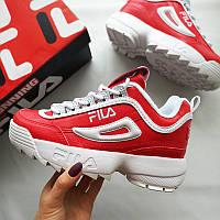 Женские кроссовки Fila ТОП-качество красно-белые 52afc16af80ba