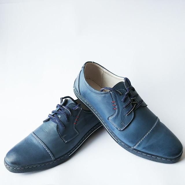 Качественная польская обувь мужская кожаная синего цвета на шнуровке