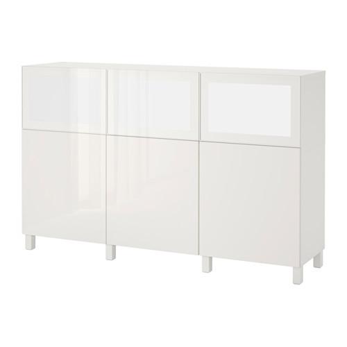 Дверной шкаф со светодиодным освещением IKEA BESTÅ / SURTE 180x40x112 см белый Selsviken 691.933.17