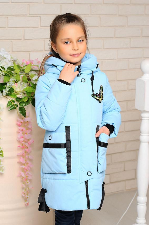 Детская демисезонная удлиненная куртка, лед, р.98-128