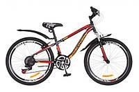 """Велосипед горный подростковый 24"""" Discovery Flint Am Vbr 2018, рама 13"""", с крылом черно-оранжево-красный"""