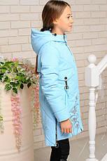 Детская демисезонная удлиненная куртка, лед, р.98-128, фото 3