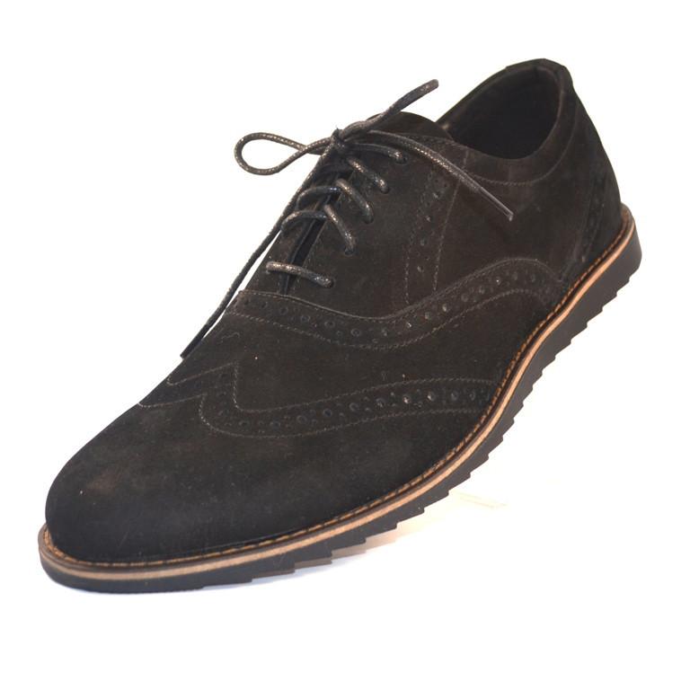 Легкие туфли броги нубуковые черные мужская обувь больших размеров Rosso Avangard BS Persona Breakage черные
