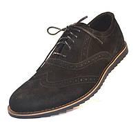 Легкие туфли броги нубуковые черные мужская обувь больших размеров Rosso Avangard BS Persona Breakage черные, фото 1